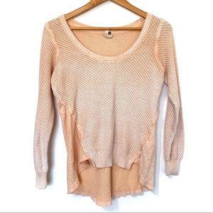 Free people sweater orange white thermal back top
